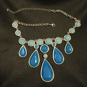 Blue Teardrop Gold Tone  Necklace